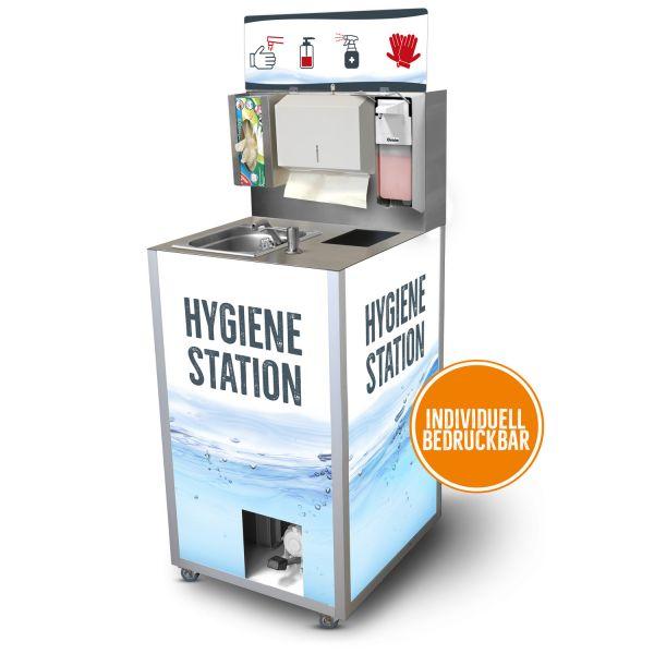 Hygienestation mit Desinfektionsmittelspender und mobilen Handwaschbecken
