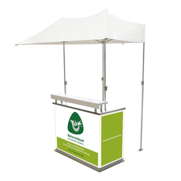 Promotiontheke mit Zelt zur Überdachung - alles ist faltbar und klappbar