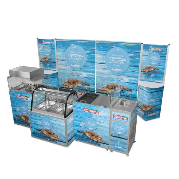 Messewand und Verkostungstheken für Fischverkauf und Verkostung