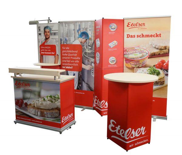 mobile Messewand, Promotiontheke und Stehtisch