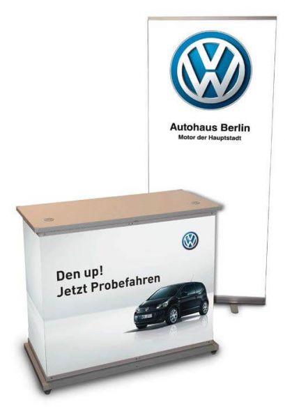 schnelle Promotiontheke zur Einführung neuer KFZ-Modelle von VW